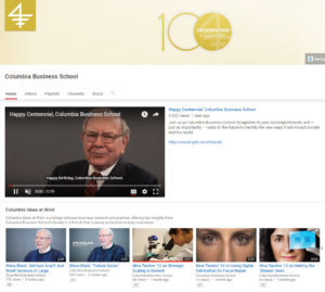 Higher education marketing on Columbia Business School YouTube channel