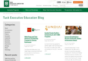 Tuck Executive using great higher education marketing
