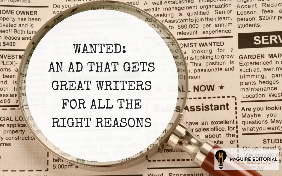 Writers For Content Marketing Using This Ad And Job Description