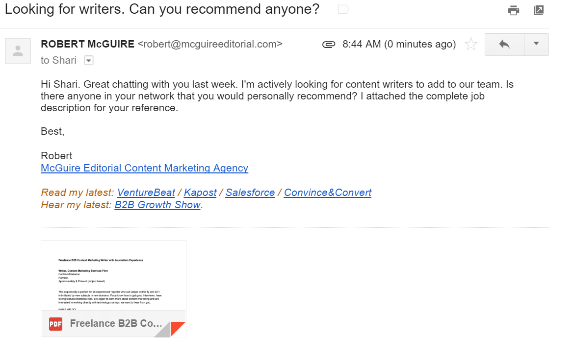 Screenshot, email to hire website content writers