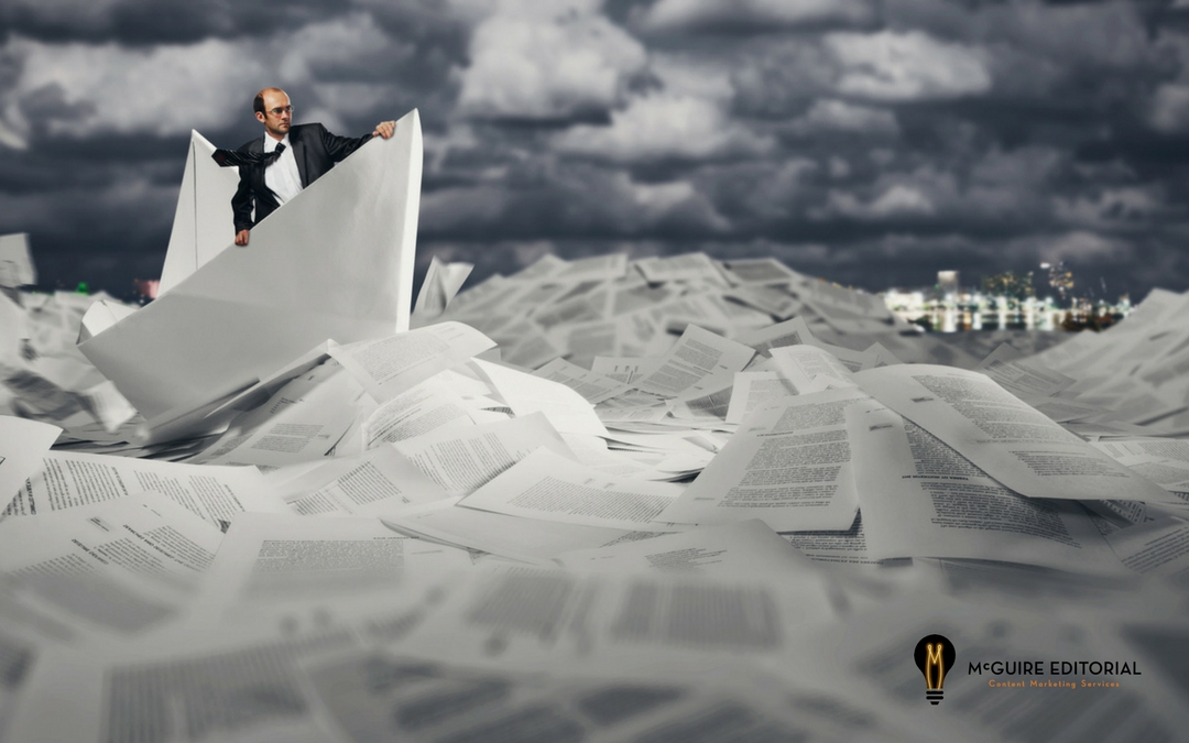 illustration, man sailing over sea of paperwork, hiring freelance web content writers