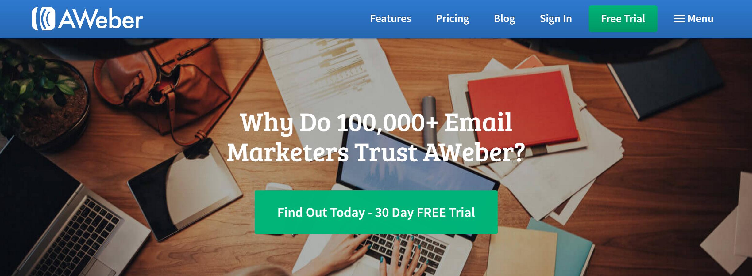 Online marketing tools for nonprofits, AWeber email marketing screenshot