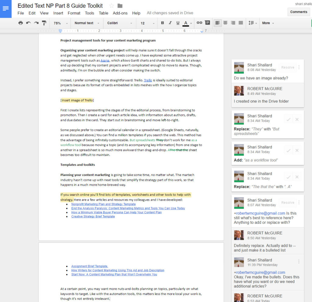 Online marketing tools for nonprofits, screenshot of editing in Google docs