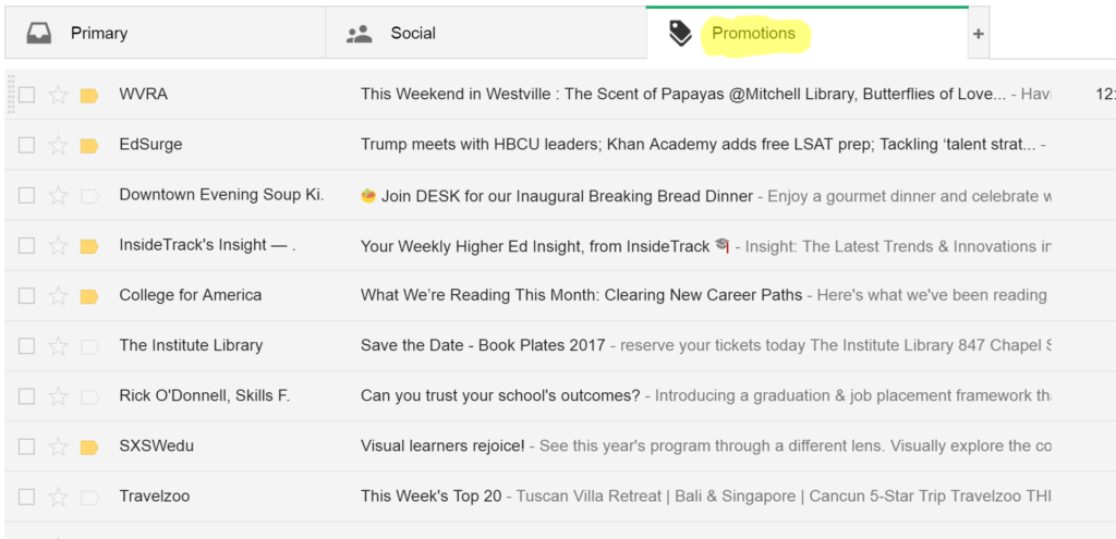 Online marketing tools for nonprofits, Promotions tab of gmail